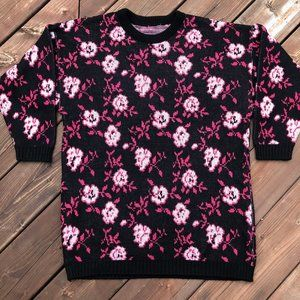 Vintage 80s pattern sweater roses on black size S